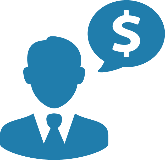 man with a money speak bubble icon